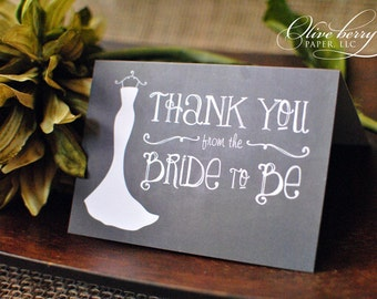 Chalkboard Bridal Shower Thank You Notes