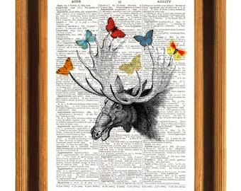 American black Elk Dictionary Print, Vintage Deer Head, butterflies collage book page,country decoration wall hangings