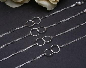 Set of 6,Circle Bracelet,Eternity Karma Bracelet,Sterling Silver,Bridesmaid Gifts,Sisterhood,Wedding Jewelry