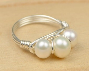 Pearl Ring-  Sterling Silver Filled  Wire Wrap Ring with White Freshwater Pearls -Size 4, 5, 6, 7, 8, 9, 10, 11, 12, 13, 14