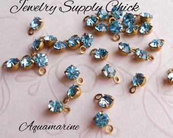 Aquamarine crystal 4mm drop (x12+)