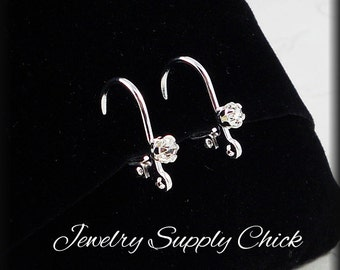 Lever back ear wire with crystal accent (6 pair)
