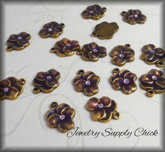 Purple pansy enameled (x4)
