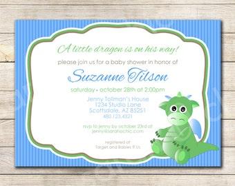 Dragon Baby Shower Invitation -- sarah O chic -- green, blue, baby dragon, year of the dragon, baby shower