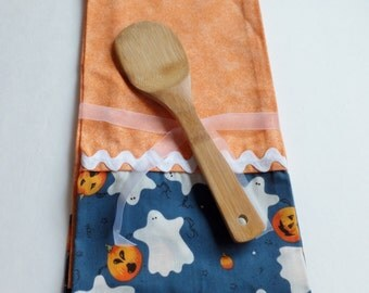 Orange Halloween Dish Towels with Ghosts and Pumpkins