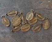 Tiny Brass Religious 2-Sided Virgin Mary Oval Charms Medals 12x7mm New Hand Oxidized (12)