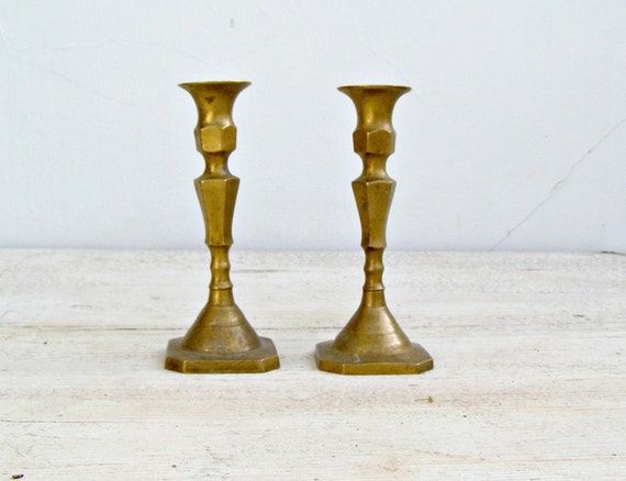Vintage Glass Art Deco Candle Holder: Vintage Brass Candlesticks Art Deco Candle Holders Retro