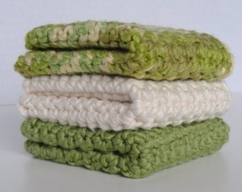 Organic Cotton Crocheted Washcloths Set of Three Pistachio Green Ivory Green Ivory Mix Soft Gentle