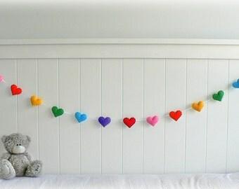 Rainbow heart garland - heart banner - Nursery decor - birthday decor - party decor - MADE TO ORDER