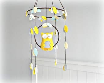 Owl mobile - Woodland - baby mobile - nursery decor - yellow, gray, blue, ivory - mobile - MADE TO ORDER