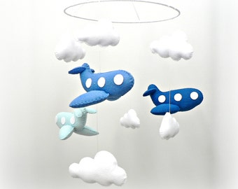 Airplane mobile - blue felt airplanes and white clouds - Nursery decor - MADE TO ORDER