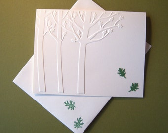 Set of Six Embossed Three Trees Notecards with Matching Envelopes