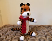 Large Harold the tiger with scarf plush doll crochet big amigurumi (inspired by Calvin and Hobbes) plushie stuffie