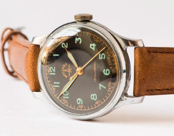 antique men s wristwatch moscow black face wrist watch antique men s wristwatch moscow black face wrist watch green digits very rare soviet watch