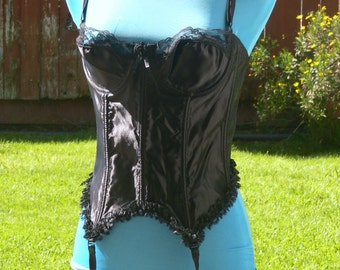 BLACK  lace corset and garter size 38 made in usa