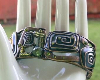 green enamel art deco  bracelet