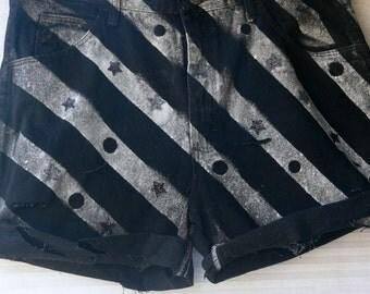 STEAM punk   painted shorts size 36 waist