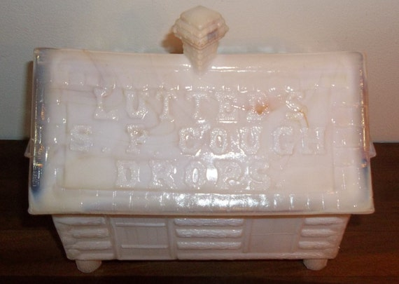 RESERVED for Ray Vintage Lutted's S.P. Cough Drops Log Cabin Slag Glass Store Display Container