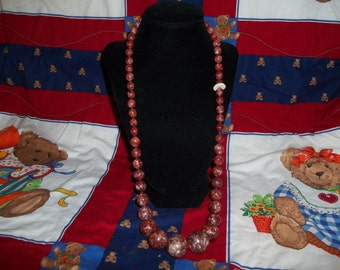 Beautiful Vintage Chunky Beaded Necklace With Maroon Stones Graduating In Size-Made In Austria