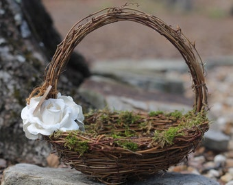 Flower Girl Basket Rustic Nest Personalized, Paper Roses Rustic Woodland Wedding