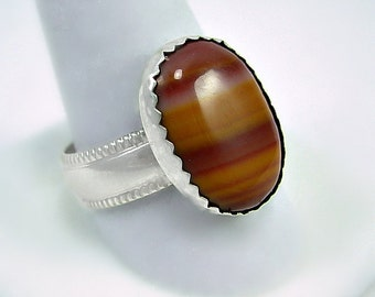UNIQUE-Banded Agate & Sterling Silver Ring, Hand cut stone and Silver work
