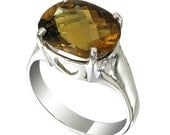 Huge Gem Stone 7.40 ct Yellow Citrine 14 mm x 10 mm Sterling Silver Ring