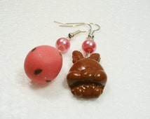 Chocolate Bunny And Mini Egg earrings . Polymer clay.