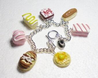 Teatime Charm Bracelet. Polymer clay.
