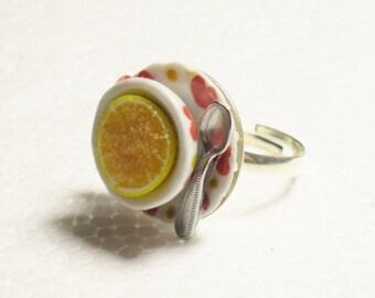 Breakfast Grapefruit Ring. Polymer Clay.