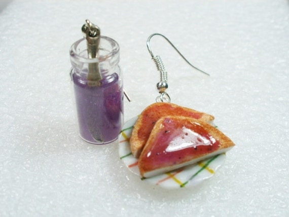 Toast and Grape Jelly Earrings.