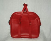 Vintage Bright Red Vinyl Train Overnight Carry-On Bag Travel Luggage Excellent Condition