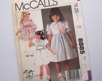 Ruffles & Lace Vintage McCalls 8885 Girls Party Dress UNCUT SEWING PATTERN with Cummerbund Belt - 1984 - Size 2-3
