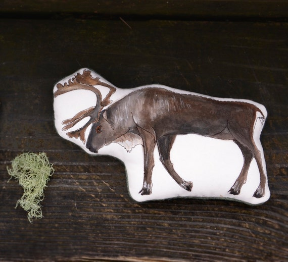 Handmade Toy Caribou. Organic Cotton Animal Pillow by Aly Parrott on Etsy. Ready to ship.