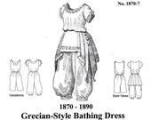 Victorian Bathing Suit Pattern, New Grecian-Style Historical Sewing Pattern - 1870-7