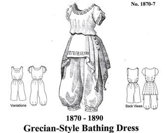 Victorian Bathing Suit Pattern, Grecian-Style Historical Sewing Pattern - 1870-7, by the Mantua Maker