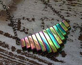 Hematite Chevron Necklace Bohemian Crystal Jewelry - Rainbow Aura Gemstone Layering Necklace, Sheild, Yoga, Meditation, Chakra, Indie