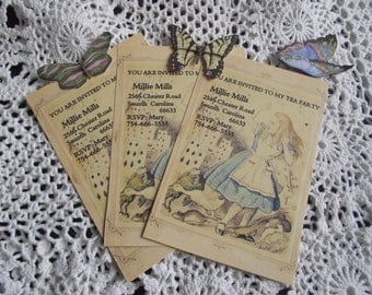 Alice  In Wonderland  Gift Tags  Twelve Cards Personalize