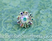 "Rhinestone Buttons ""Cleopatra""(11mm) RS-001 in Opal AB - 5 piece set"
