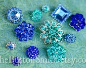 Rhinestone Buttons Mix - Blue Collection -10 Piece Set