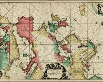 Old fashion map-Europe-ancient history-old map of Europe-Old World