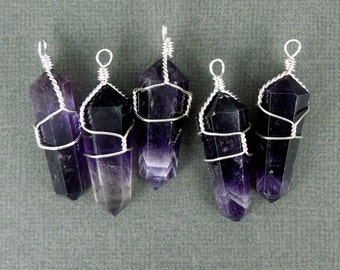 10pcs - Amethyst Crystal Silver Wire Wrapped Point Pendant - Amethtyst Crystal Point Wire-Wrapped Pendant-- 10 PENDANTS (S20B7-04)