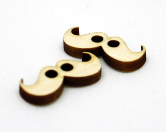 Mini Mustache Buttons, Set of 2, Laser Cut Wood, Button for Stuffed Animals