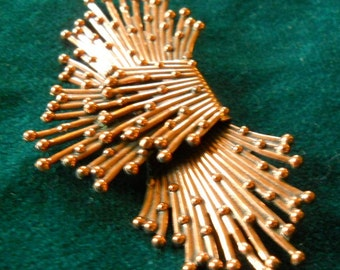 RENOIR Copper Brooch Pin STARBURST Pattern space age Art Deco Matisse VTG jewelry signed