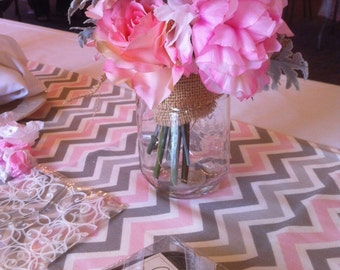Table Runner - Pink, White and Grey Chevron Table Runners - Chevron Table Runners For Weddings or Home Decor - Select A Size
