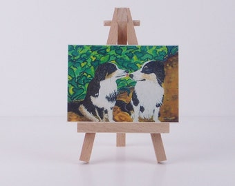 ACEO Dog mini art Australian Shepards print of original painting  miniature painting