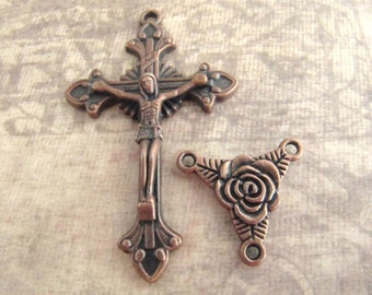 Antique Copper Rosary Crucifix and Matching Rose Rosary Center