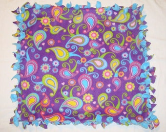 SALE Fleece Tie Pet Blanket for Cats or Small Dogs - Purple Colorful Paisley Floral