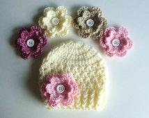 Crochet Baby Hat In Ivory with 4 Different Flower Options - Made to Order - Choose from 23 Flower Colors