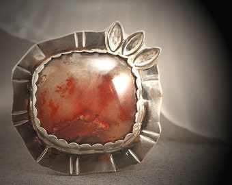 Silver Carey Plume Agate Ring