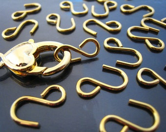 Finding - 20 pcs Gold S-Hooks Clasp 15mm x 9mm